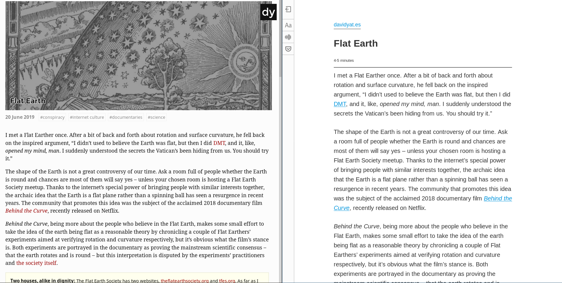 My site on the left, reader mode on the right.