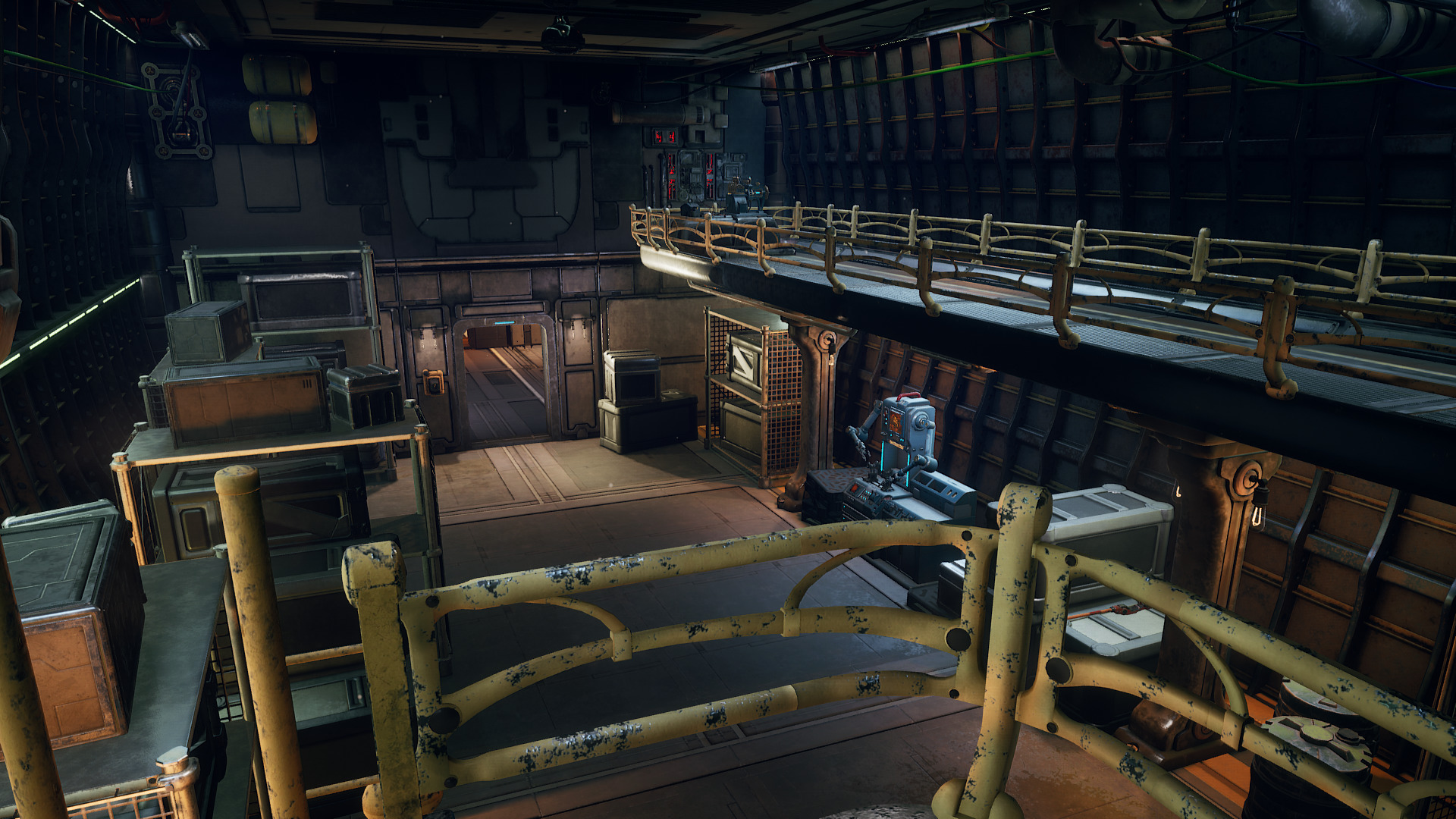 The hold of the player's ship, designed in rigorous compliance with sci-fi regulations.